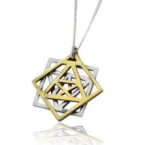 Sterling Silver and Gold - Three Shields of 'Tikun Hava' Necklace