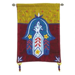 Yair Emanuel Small Wall Hanging: Hamsa - Flowers
