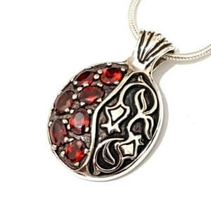 925 SIlver Pomegranate Necklace with Red Garnets Stones
