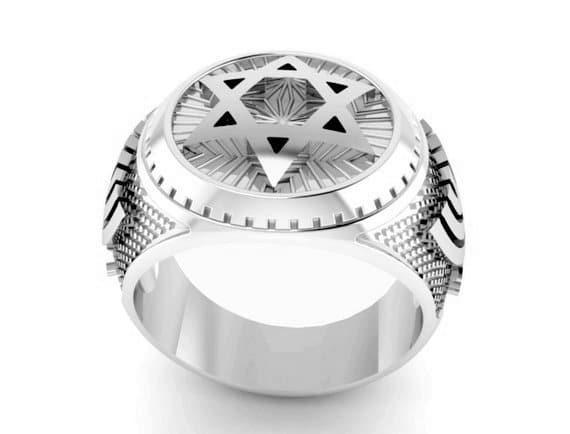 925 Silver King's Solomon Ring Star of David Ring