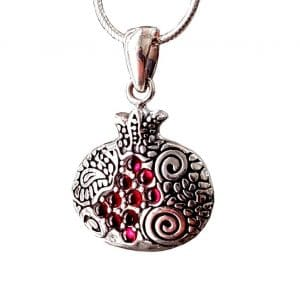 Pomegranate Necklace 925 Silver  set with Red Garnet Stones