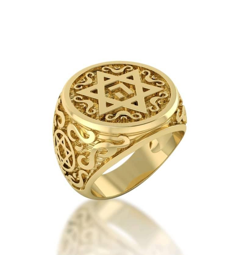 14k Yellow Gold Ornamented Star of David Ring Men Ring
