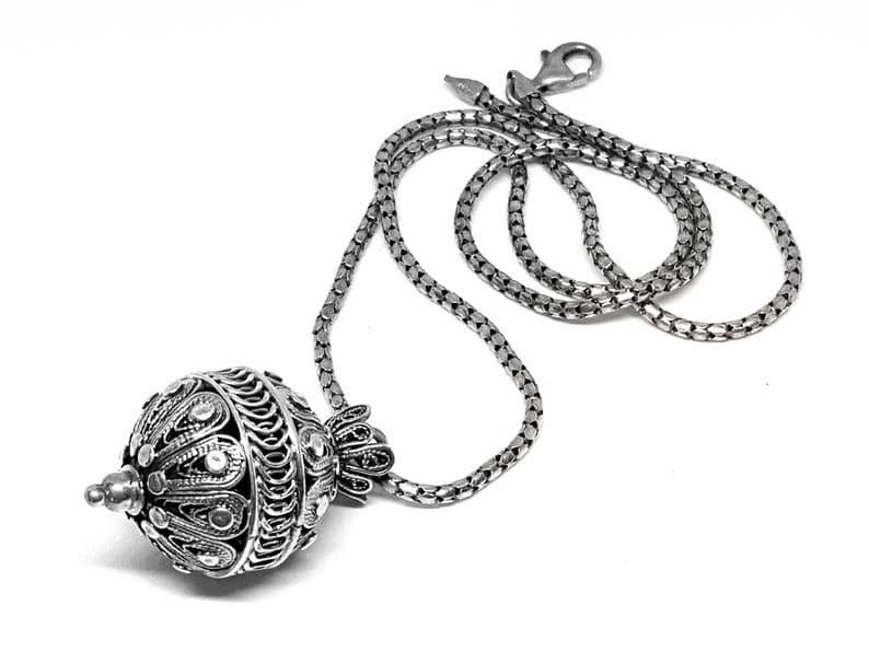 925 Silver Yemenite Necklace - Pomegranate design
