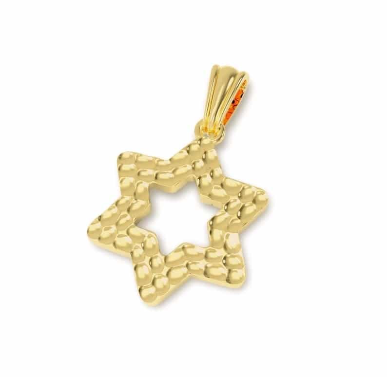 14k Hammered Gold Star of David Jewish Necklace