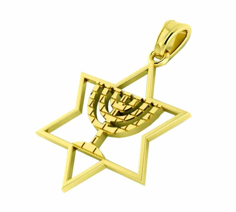 14k Gold Menorah Jerusalem Pendant