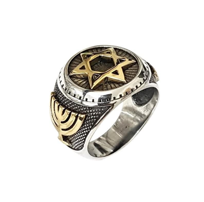 925 Silver 9K Gold Star of David Ring ,Menorah Ring