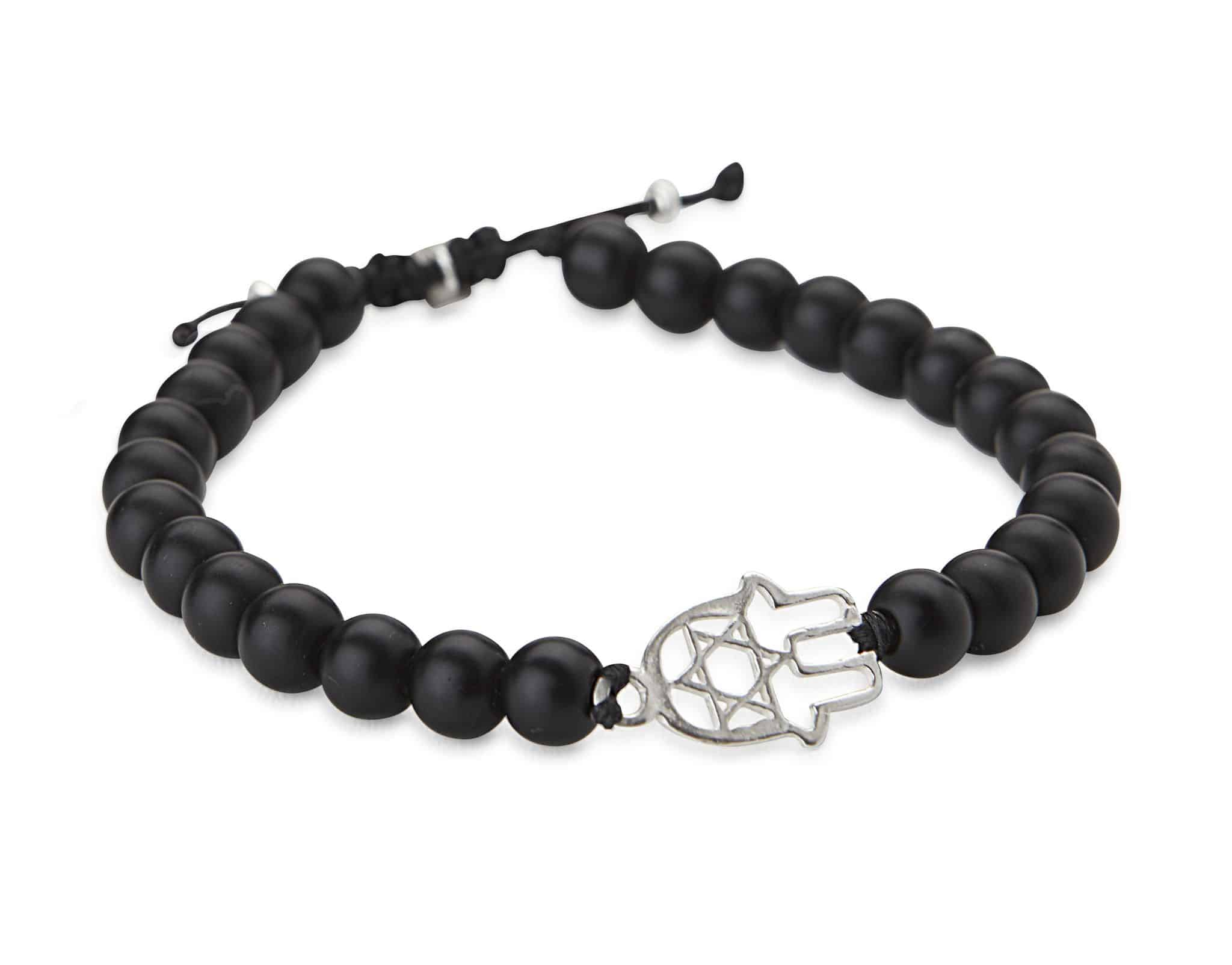 Black stones and hamsa bracelet